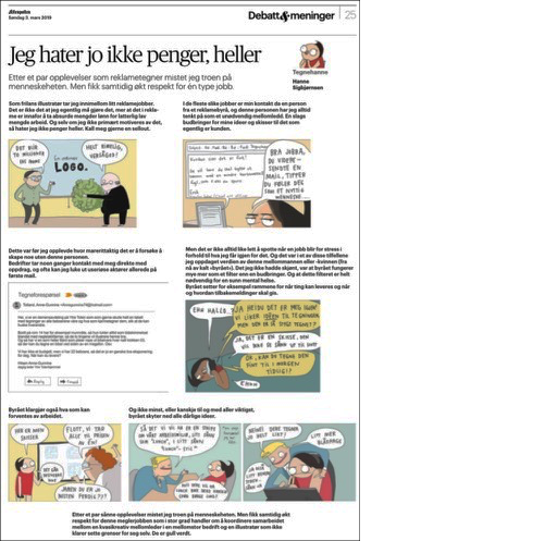 Full page opinion piece by Hanne Sigbjørnsen; Tegnehanne.Facsimile from Aftenposten 3. mars 2019.